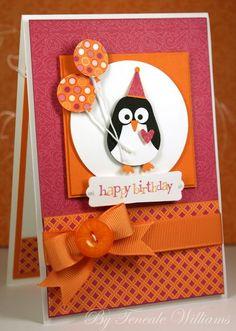Card critters bird birds birthday card with penguin and balloons Artisan Spotlight on the FABULOUS Teneale Williams