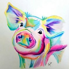 Items similar to Colorful Pig Print, Pig Art on Etsy Colorful Animal Paintings, Colorful Animals, Animal Drawings, Pencil Drawings, Art Drawings, Pig Drawing, Drawing Ideas, Pig Art, Drawing Techniques