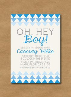 """oh, hey boy"" ombre baby boy shower invitation"