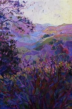 Wine colored hills of Paso Robles, painted in impasto oils by Erin Hanson