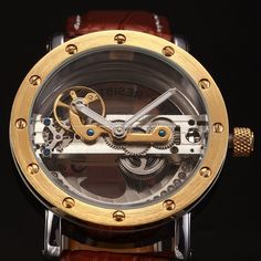 Steampunk Transparent Crystal Skeleton Mens Automatic Mechanical Wrist Watch UK | eBay