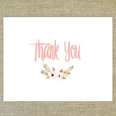 Coral Posie Thank You cards with matching by PixieChicago on Etsy