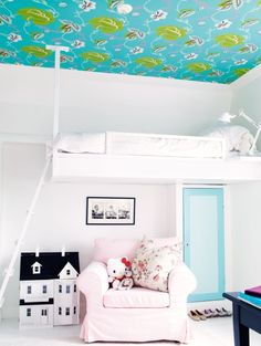 Don't like the ceiling and the Hello Kitty, but that bunk bed above the blue door I love.