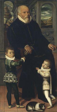 Vincenzo Campi - Ritratto d'uomo con bambini - 1580 ca. - Accademia Carrara di Bergamo Pinacoteca