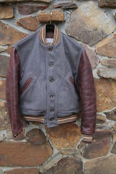 Mens Aero Leather Horsehide   Melton Wool Letterman jacket 42-44 Regular  AWESOME   eBay 7c2c5c21bd