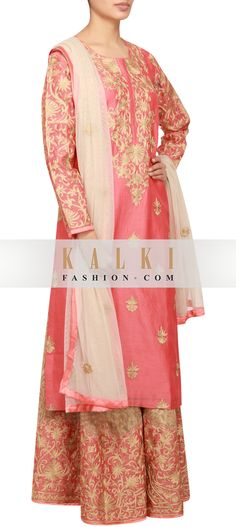 Buy Online from the link below. We ship worldwide (Free Shipping over US$100) http://www.kalkifashion.com/peach-cotton-silk-a-line-salwar-kameez-embellished-in-zari-only-on-kalki.html
