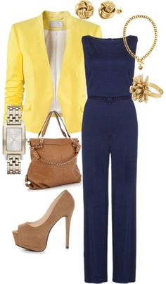 Navy blue playsuit with a bright yellow jacket ... It's all in the contrast!