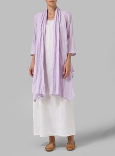 Linen Long Shawl-Collar Over Jacket