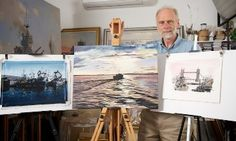 Marine artist Geoff Hunt pictured with the winning and runner-up images of the Shipwrecked Mariners' Society Maritime Art Competition 2012. Geoff's work features on the covers of Patrick O'Brian's Aubrey-Maturin books.
