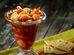 Get Summer Scallop and Shrimp Coctel Recipe from Food Network. - ****Yes I know that I shared this recipe from another page before but the presentation on this one is soooo much better. Just love this photo and need one for my wallet right next to the Twins. - Brandon