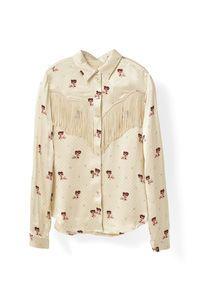 Donnelly Satin Shirt, Biscotti