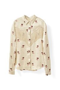 Donnelly Satin Shirt, Biscotti
