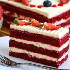 The most incredible Red Velvet Cake with Cream Cheese Frosting is fluffy, soft, buttery and moist with the most perfect velvet. Red Velvet Birthday Cake, Number Birthday Cakes, Torte Recepti, Romanian Food, Cake With Cream Cheese, Velvet Cake, Piece Of Cakes, Food Cakes, Something Sweet