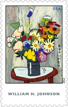 """William H. Johnson's still life, """"Flowers,"""" is an oil-on-plywood painting created in 1939-1940 depicting a vase of boldly rendered, brightly colored blooms on a small table."""