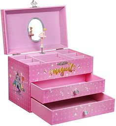 Amazon.com: SONGMICS Large Ballerina Musical Jewelry Box, Unicorn for Little Girls, Music Storage Box with 2 Pullout Drawers UJMC007PK: Home & Kitchen Kids Jewelry Box, Musical Jewelry Box, Music Jewelry, Jewellery Boxes, Jewellery Storage, Music Box Ballerina, Ballerina Jewelry Box, Make Up Storage, Unicorn Gifts