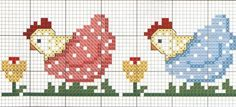 ñ hens cross stitch chart Small Cross Stitch, Cross Stitch Kitchen, Cross Stitch Borders, Cross Stitch Charts, Cross Stitch Designs, Cross Stitching, Cross Stitch Patterns, Rooster Cross Stitch, Chicken Cross Stitch