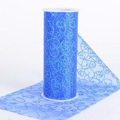 6 inch Glitter Hearts Organza Roll Royal Blue - 6 inch x 10