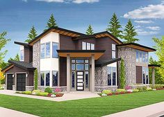 An angled entry makes Architectural Designs Modern House Plan 85123MS perfect for a corner lot. 5 beds if you build out the lower level and over 4,000 sq. ft. of living. Ready when you are. Where do YOU want to build?