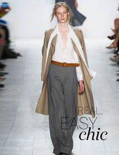 Spring/Summer 2014 Trends: the biggest fashion trends from the catwalk | ELLE UK - Grey pants, white shirt, and camel belt