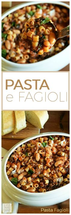 Pasta e Fagioli | by Life Tastes Good is a very hearty and satisfying soup that fills you up and warms you through and through. We enjoy this as an entree with freshly grated Parmesan cheese on top and some crusty french bread for wiping the bowl clean!