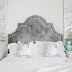 Gorgeous bedroom features a gray velvet tufted bed, Jonathan Adler Woodhouse Bed, dressed in white and silver pillows flanked by white lacquered nightstands and off white faceted lamps placed under silver and blue chinoiserie art panels. Blue Bedroom, Bedroom Decor, Master Bedroom, Velvet Tufted Headboard, Sofa Deals, Best Leather Sofa, Silver Pillows, Headboard Designs, Headboard Ideas