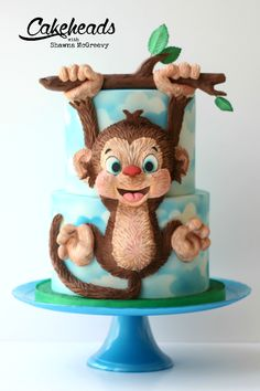 Hanging Monkey cake video tutorial, on ! Fondant Cake Tutorial, Fondant Cakes, Cupcake Cakes, Kid Cakes, Fete Audrey, First Birthday Cakes, Teen Birthday, Monkey Birthday Cakes, Special Birthday