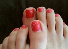 Hot pink with flower nail design