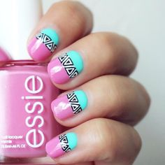 """Harli on Instagram: """"Yay! I just uploaded a summer nail art tutorial on my YT channel (LINK IN BIO) I used @essiepolish 'Cascade Cool' & an aqua @kikomilano polish for this design. what do you think? """""""
