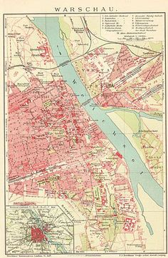 Poland Old Warsaw Map. Warsaw City, Poland Map, Warsaw Poland, Egypt Map, Polish Posters, Old Signs, Old Maps, Vintage Maps, Geography