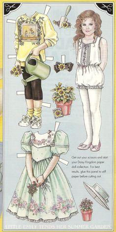 """Little Emily Tends her summer Garden"", a Daisy Kingdom paper doll from MAKE IT! Magazine, Summer 1993"