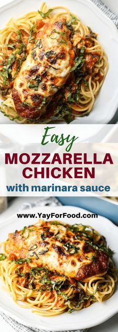 Enjoy a delicious dinner in no time with this easy mozzarella chicken recipe. This saucy and cheesy chicken dish is perfect to make on a weeknight! #chicken #chickenrecipes #mozzarellachicken #easyrecipes #sidedishes #dinnerrecipes Easy Mozzarella Chicken Recipe, Yummy Chicken Recipes, Yum Yum Chicken, Vegan Recipes Easy, Turkey Recipes, Easy Pasta Recipes, Beef Recipes, Dinner Recipes, Italian Recipes