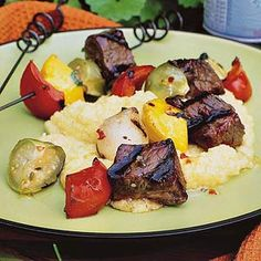 Both sweet and spicy, jalapeno pepper jelly adds zing to these beef and vegetable kabobs. /