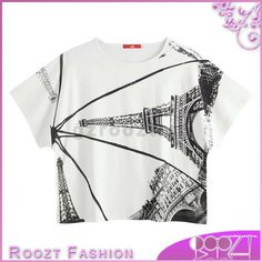 2014 summer trendy clothing Eiffel Tower printing ladies white tee shirt, View white tee shirt, Roozt Product Details from Guangzhou Roozt Clothes Co., Ltd. on Alibaba.com