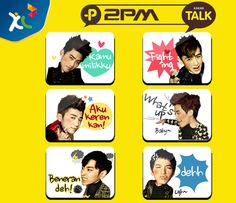 Siapa disini yang fans dengan 2PM? Ngobrol dengan teman kamu pake emotikon seleb KPop 2PM yuk!!     Segera download KakaoTalk, klik:http://www.kakao.com/ /m/intro/id  eventnya dari KakaoTalk Indonesia!    *as posted on XL Rame