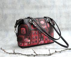 black leather bag, leather handbag, with applique, bag with houses, painted houses, shoulder bag.
