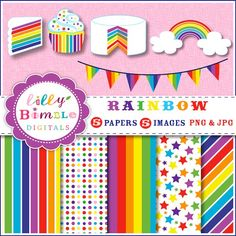 Rainbow party graphics for cards, invites. Commercial USE included. $4.00, via Etsy.