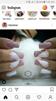 Fails design unique diy ideas for 2019 Gem Nails, Bling Nails, Stiletto Nails, Hair And Nails, 3d Nail Designs, Cute Summer Nail Designs, Nail Polish Designs, Metallic Nail Polish, Acrylic Nails