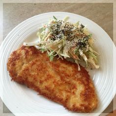 Chicken Schnitzel with a Fennel & Cabbage Coleslaw. Simple and delightful.