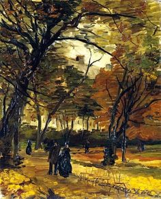"SUNDAY BRUNCH ART Vincent van Gogh (Dutch, Post-Impressionism, 1853-1890): ""In the Bois de Boulogne, 1886"" Oil on canvas, 46.4 x 36.8 cm (18.25 x 14.5 inches). NOTE: Private Collection."