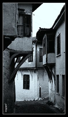 This photo from Xanthi, Thrace is titled 'Xanthi's old town'. Greece Photography, Into The West, Black And White Pictures, Macedonia, Old Town, The Neighbourhood, Places To Go, Past, Greek