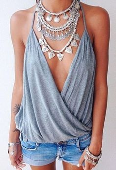 SILVER COIN NECKLACE Bohemian Gypsy Tribal Festival Statement Choker Collar Bib #Statement