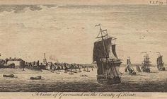 18th century engraving of Gravesend. Gravesend, Kent is the port at the mouth of the Thames. It was the point of debarkation for passengers and cargo and it was here that one could take a ship for a sea voyage.