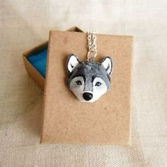 Wolf+necklace+Grey+Wolf+Totem+Polymer+Clay+hand+by+FlowerLandShop,+$35.00