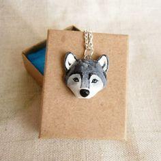 Wolf+necklace+Grey+Wolf+Totem+Polymer+Clay+hand+por+FlowerLandShop,+$35.00