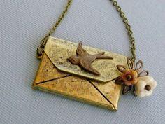 Envelope Locket Necklace Locket Necklace by pinkingedgedesigns