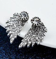 Angel Wings Rhinestone Stud