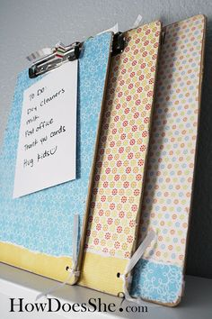 Clip board decorating tutorial -- I'm thinking I want a clipboard for each of my classes. I love clipboards AND color-coded, decorated office supplies! Crafts To Make, Fun Crafts, Crafts For Kids, Paper Crafts, Teacher Appreciation Gifts, Teacher Gifts, Cute Gifts, Diy Gifts, Handmade Gifts