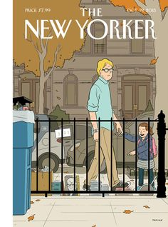 """""""Where I live in Brooklyn, there're always a lot of books being set out on the sidewalk, and there're also a lot of authors walking around the neighborhood,"""" Adrian Tomine says of his cover for the October 19, 2015 issue, """"Recognition."""" http://nyr.kr/1hO3nGV"""