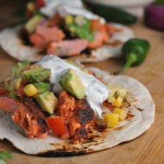 """Healthy Motivation : Illustration Description Blackened Salmon Tacos with Corn Salsa + Cilantro-Lime Ranch """"Life begins at the end of your comfort zone"""" ! -Read More – Salmon Recipes, Fish Recipes, Seafood Recipes, Mexican Food Recipes, Cooking Recipes, Healthy Recipes, Ethnic Recipes, Healthy Foods, Weeknight Recipes"""