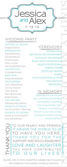 ornamental modern wedding ceremony program by xSimplyModernDesignx